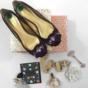 Nine West• jeweled• royal purple• peep toe flats